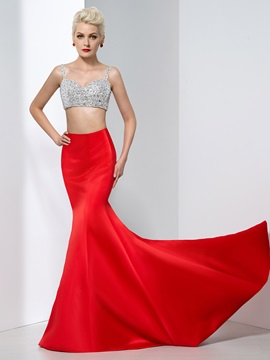 Sexy Spaghetti Straps Sequins Two Pieces Mermaid Red Evening Dress & modest Evening Dresses