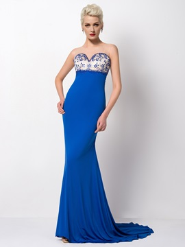 Dazzling Tulle Neck Sheath Beading Court Train Long Evening Dress & cheap Evening Dresses