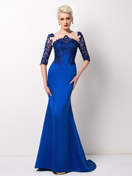 Mermaid Tulle Neck Lace Sweep Train Long Evening Dress Designed & Evening Dresses under 300