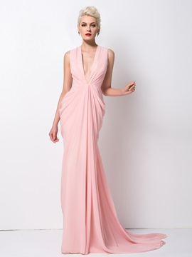 Deep V-Neck Draped Sweep Train Evening Dress