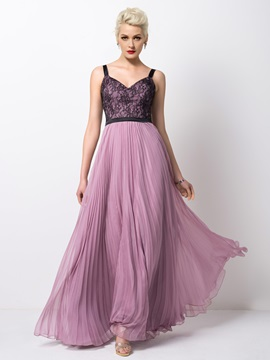 Timeless Straps Lace A-Line Pleats Long Evening Dress & colored Evening Dresses