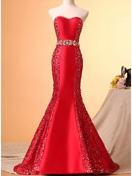 Trumpet Sweetheart Crystal Hollow Court Train Lace-up Long Evening Dress & modest Evening Dresses