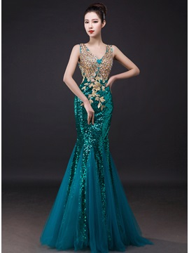 Shiny Trumpet Sequins Embroidery Beading Zipper-up Long Evening Dress & romantic Evening Dresses