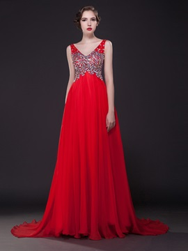 Luxurious V-Neck Beading A-Line Court Train Long Evening Dress & inexpensive Evening Dresses
