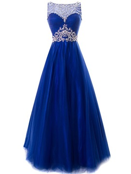 Chic Bateau Neck Beaded Crystal Backless Lace-up Long Evening Dress & Evening Dresses for less