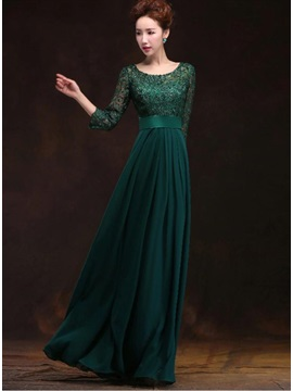 Vintage A-Line Half Sleeves Long Lace Evening Dress & fairy Evening Dresses