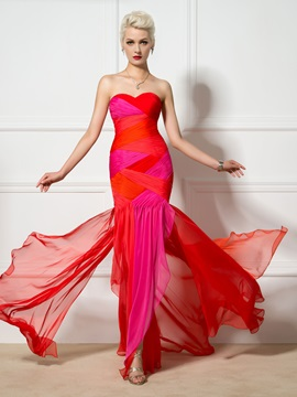 Color Block Sweetheart Pleats Trumpet Long Evening Dress & inexpensive Evening Dresses