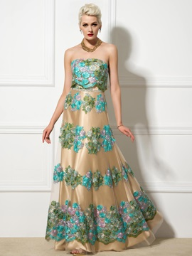 Vintage Strapless A-Line Lace-up Appliques Long Evening Dress & vintage style Evening Dresses
