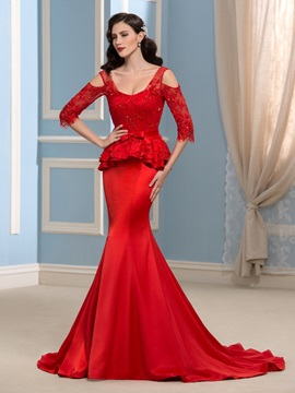 Graceful Straps Hollow Half Sleeves Lace Sequins Mermaid Evening Dress & attractive Evening Dresses