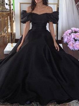 Off-The-Shoulder A-Line Floor-Length Princess Evening Dress & informal Evening Dresses