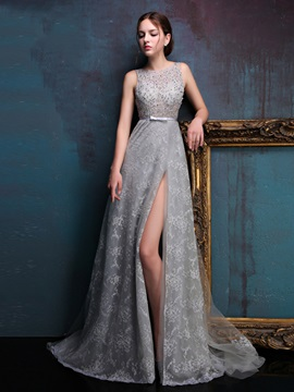 Graceful Straps Split-Front Sequins Lace Evening Dress & Evening Dresses from china