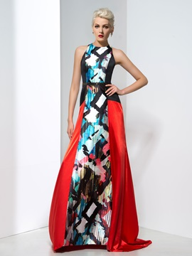 Attractive Jewel Neck Beaded Waist Long Printed Evening Dress & quality Evening Dresses
