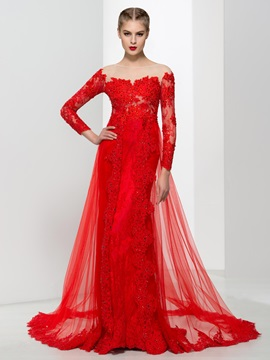 Graceful Long Sleeves Appliques Beading Red Evening Dress
