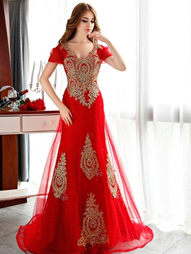 Luxurious V-Neck Short Sleeve Appliques Beaded Long Evening Dress & Evening Dresses under 300