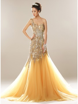 Luxurious One Shoulder Beaded Sequins Evening Dress