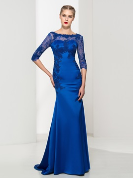 Graceful Bateau Neck Appliques Lace Mermaid Evening Dress & vintage style Evening Dresses