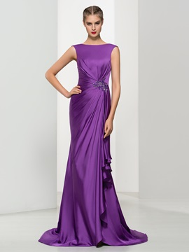Elegant Bateau Neck Appliques Pleats Trumpet Evening Dress & Evening Dresses for sale