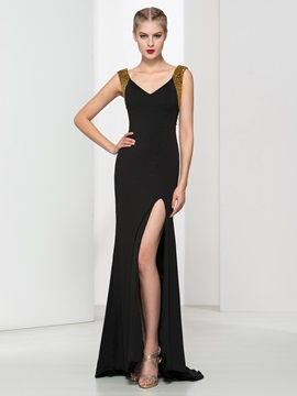 Fashion V-Neck Sequins Beading Sheath Black Evening Dress & fairytale Evening Dresses