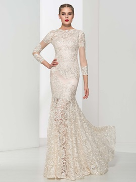 Dramatic Sleeves Beading Mermaid Lace Evening Dress & unique Evening Dresses