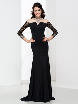 Mermaid Long Sleeves Sequins Backless Sexy Evening Dress & fairy Evening Dresses