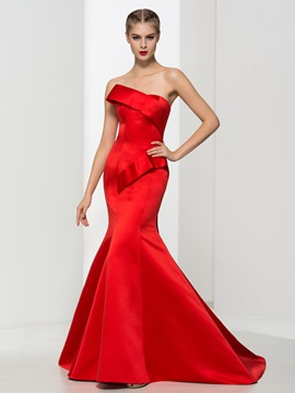 Graceful Strapless Long Red Mermaid Evening Dress & vintage Evening Dresses
