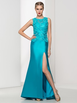 Graceful Straps Split-Front Lace Evening Dress & Evening Dresses from china