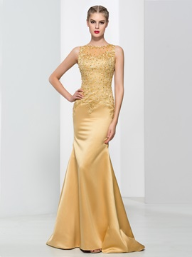 Graceful Straps Appliques Sequins Mermaid Evening Dress