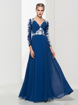 Vintage V-Neck Long Sleeves Appliques Long Evening Dress & Evening Dresses 2012