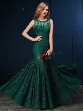 Vintage Scoop Mermaid Beading Lace Evening Dress