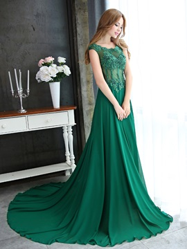 Elegant Straps A-Line Appliques Beading Long Evening Dress & affordable Evening Dresses