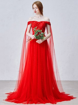 Elegant Off the Shoulder Sequin Bowknot Lace Red Evening Dress & petite Evening Dresses