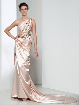 Graceful One Shoulder Draped Beading Long Evening Dress & attractive Evening Dresses