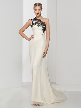 Elegant One Shoulder Appliques A-Line Long Evening Dress & Evening Dresses under 500