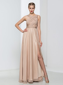 Simple Straps Pleats Split-Front Long Evening Dress