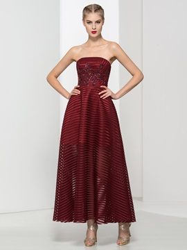 Classy Strapless Appliques Ankle-Length Evening Dress & inexpensive Evening Dresses