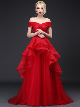 Dramatic Off the Shoulder Tiered Ruffles Lace Evening Dress & Evening Dresses from china