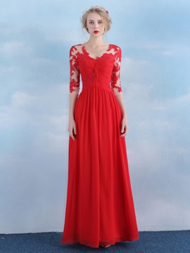 V-Neck Half Sleeves Appliques Red Evening Dress