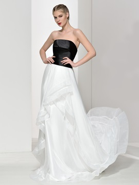 Simple Strapless A-Line Ruffles Long Evening Dress & Evening Dresses for sale