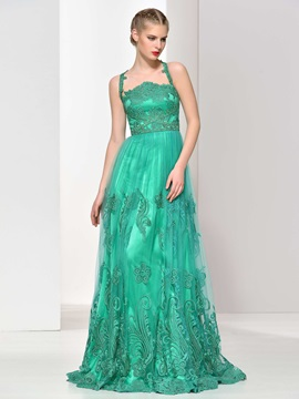 Straps A-Line Sashes Appliques Tulle Evening Dress & informal Evening Dresses