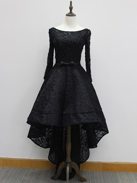 A-Line Long Sleeves Beading Bateau Lace High Low Evening Dress