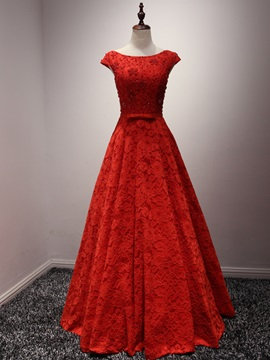 Cap Sleeve Beading Bowknot Red Evening Dress & modest Evening Dresses