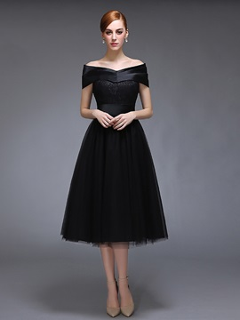 Off-the-Shoulder Lace Tea-Length Evening Dress & colorful Evening Dresses