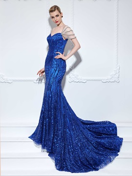 Sweetheart Cap Sleeves Beading Sequins Mermaid Evening Dress