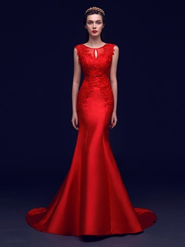 Graceful Scoop Neck Bowknot Beading Lace Mermaid Evening Dress & Evening Dresses for sale