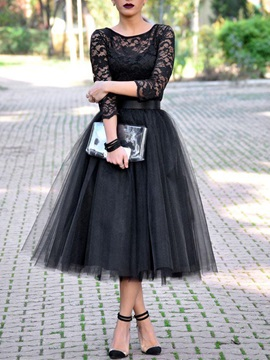 Vintage 3/4 Length Sleeves Tea-Length Lace Evening Dress