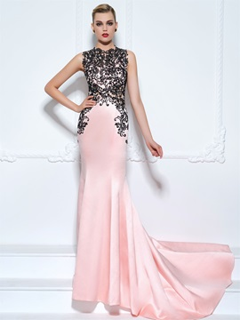 Jewel Neck Court Train Lace Trumpet Evening Dress & modern Evening Dresses
