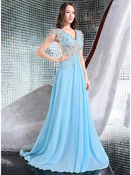 Luxurious V-Neck Appliques Beading Long Evening Dress & colorful Evening Dresses