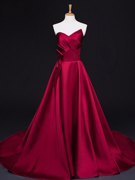 Elegant Strapless Pleats Bowknot Court Train Long Evening Dress & casual Evening Dresses