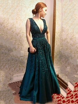 Deep V-Neck Appliques Sequins Button Long Evening Dress & informal Evening Dresses