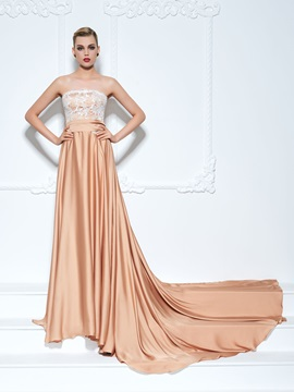 Strapless Sashes Chapel Train Lace Evening Dress & Evening Dresses online